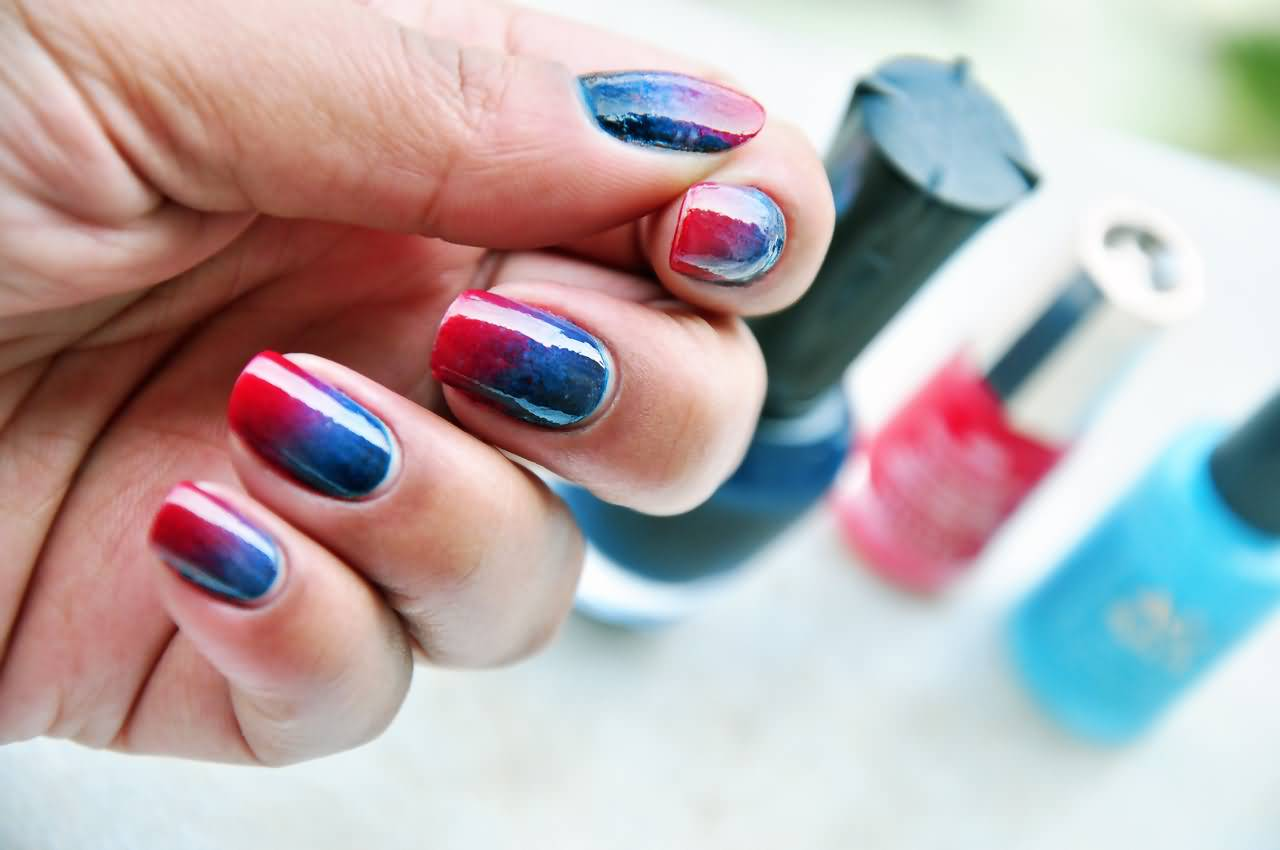 Red And Blue Nail Art Design