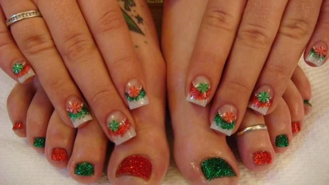 Acrylic Red Nails With Green Christmas Tree Design Short Nail Art