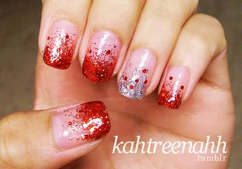 Red And Silver Glitter Tip Nail Art