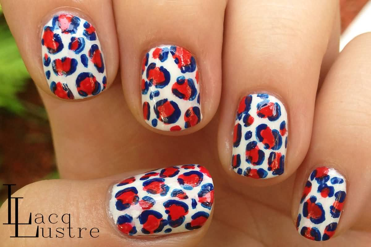 Red And White Leopard Print Nail Art