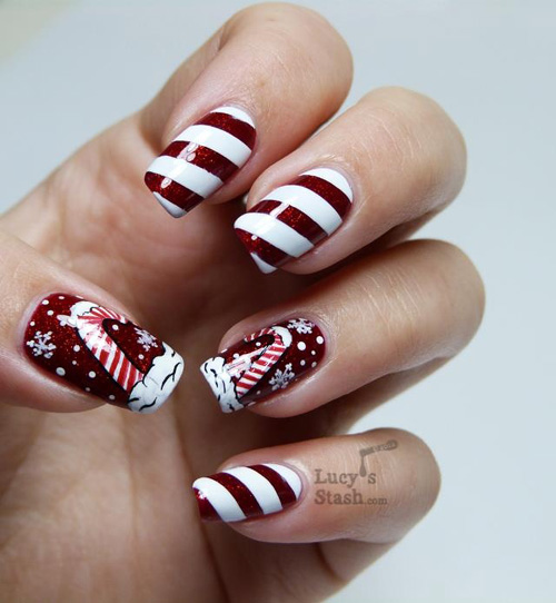 Red And White Stripes Design Christmas Nail Art