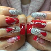 latest red and silver nail