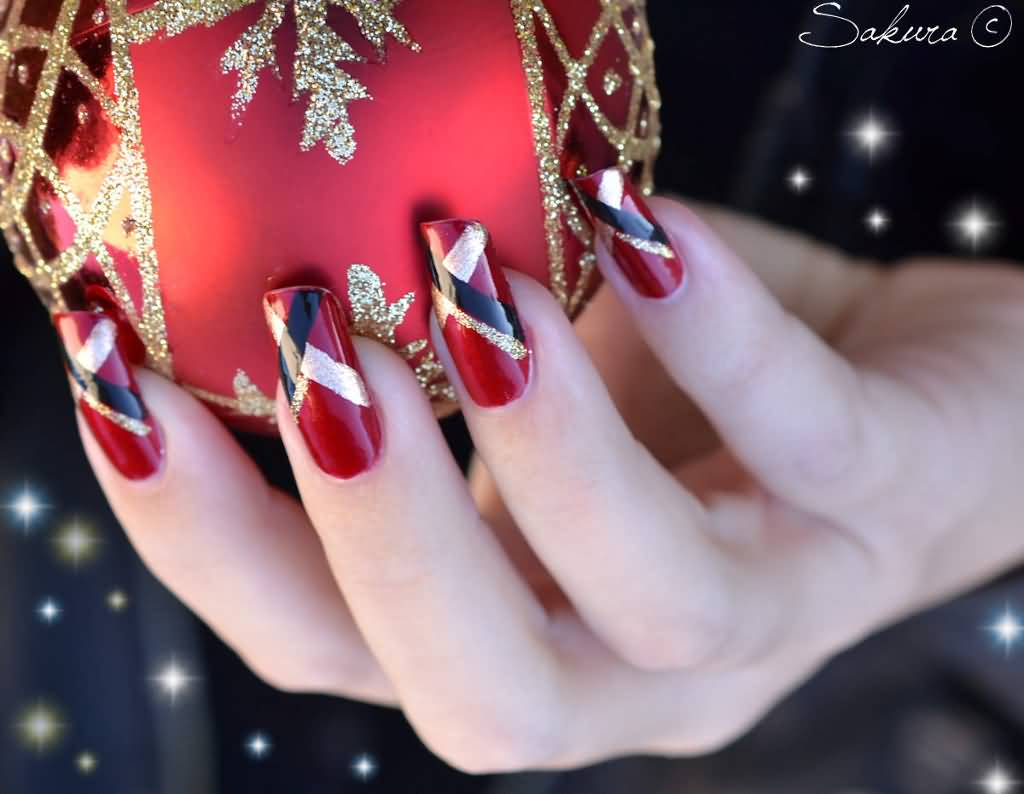 Red Nails With Black And Gold Cross Design Christmas Nail Art