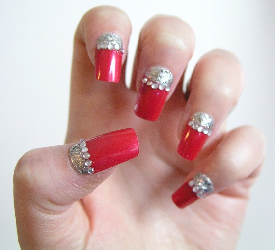 Red Nails With Silver Half Moon Reverse French Tip Nail Art And Rhinestones Design Idea