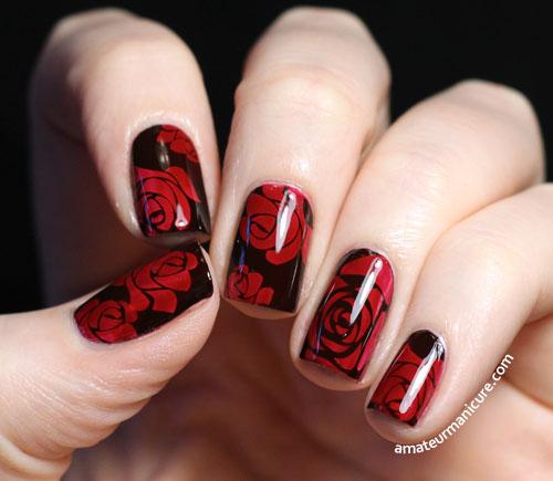 Red Rose Flower Nail Art Design On Black Nails
