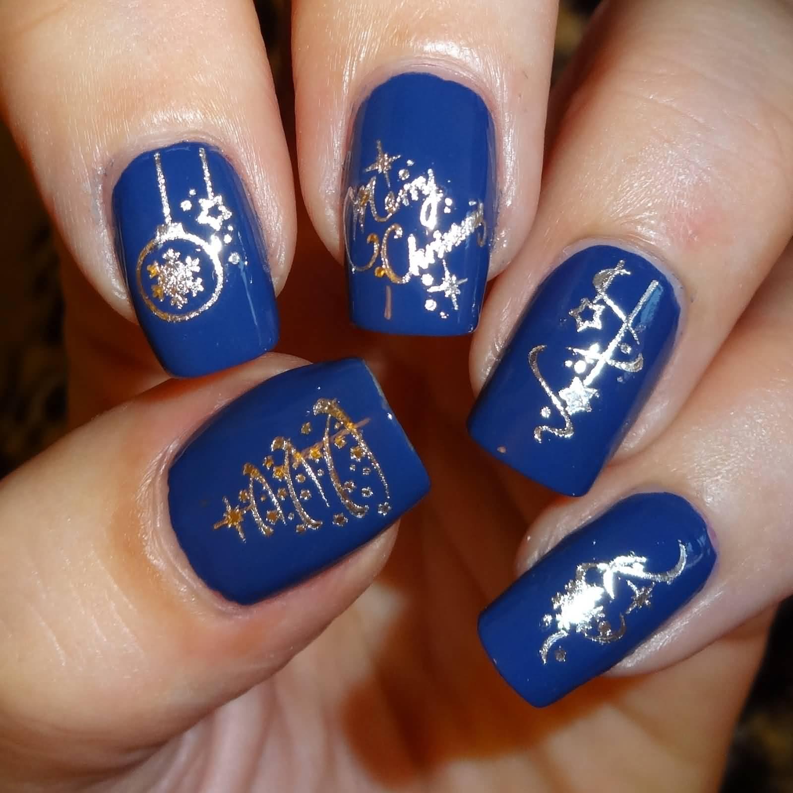 Royal Blue Nails And Silver Christmas Design Nail Art