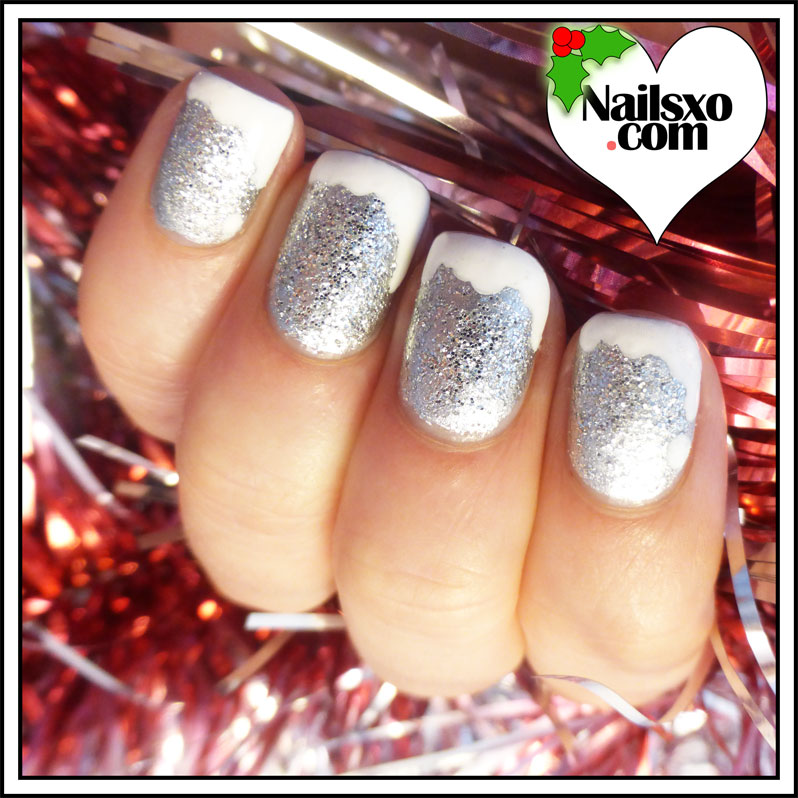 Silver Glitter And White Tip Christmas Nail Art