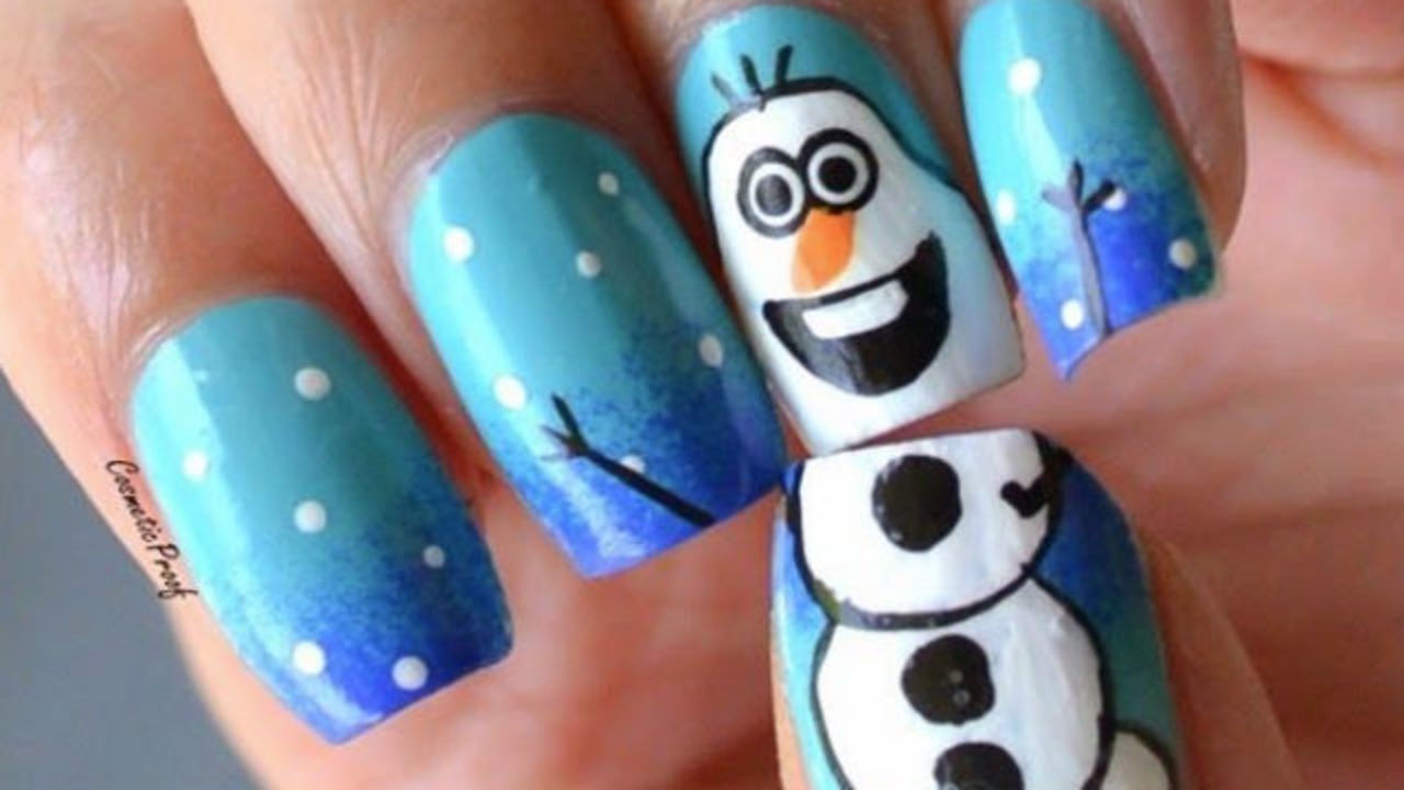 Snowman Design Christmas Nail Art