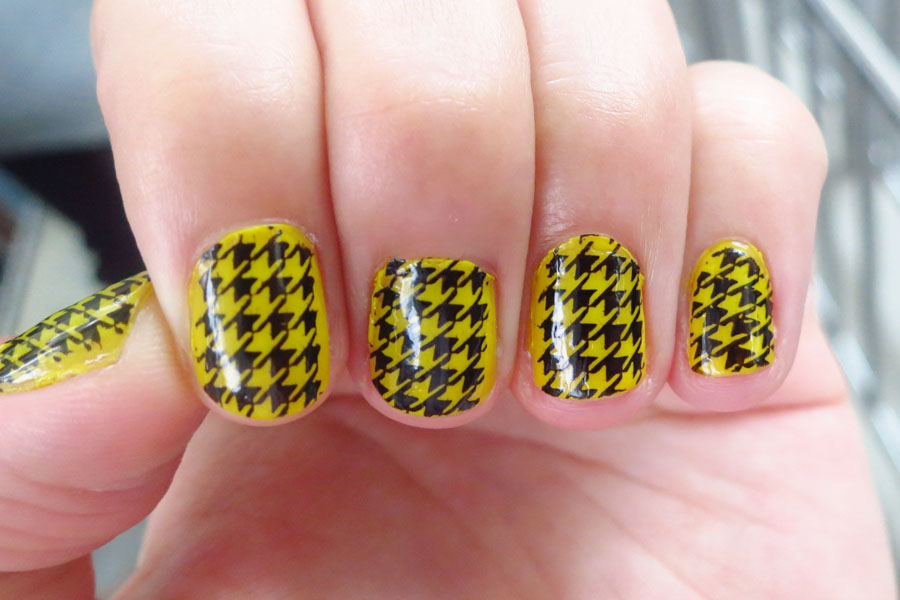 Yellow And Black Houndstooth Nail Art Design