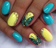 latest yellow and blue nail