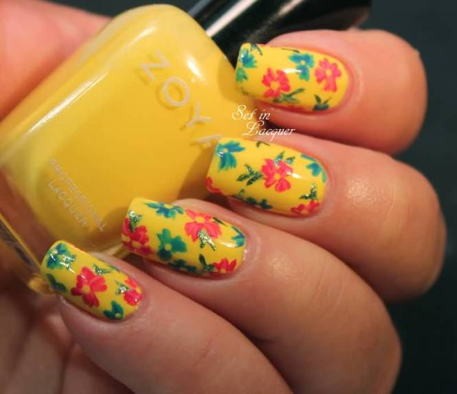 Green And Yellow Acrylic French Tip Nail Art