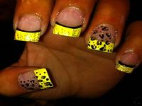 Yellow Neon Tip And Leopard Print Nail Art
