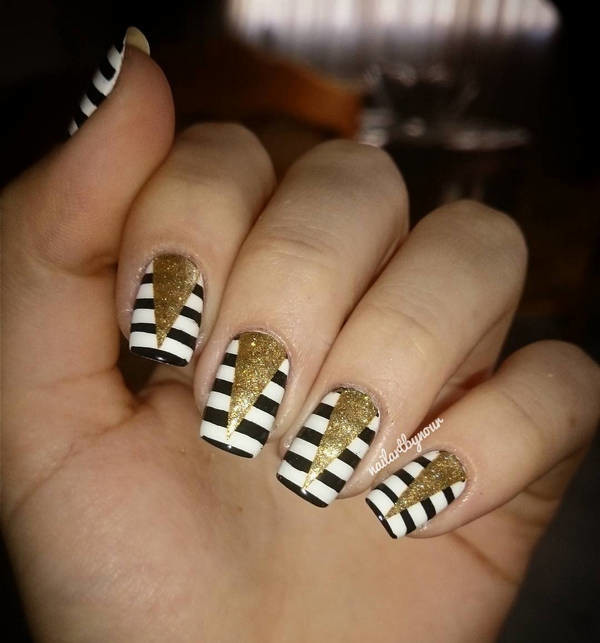 Black And White Stripes Gold Glitter Chevron Design Nail Art