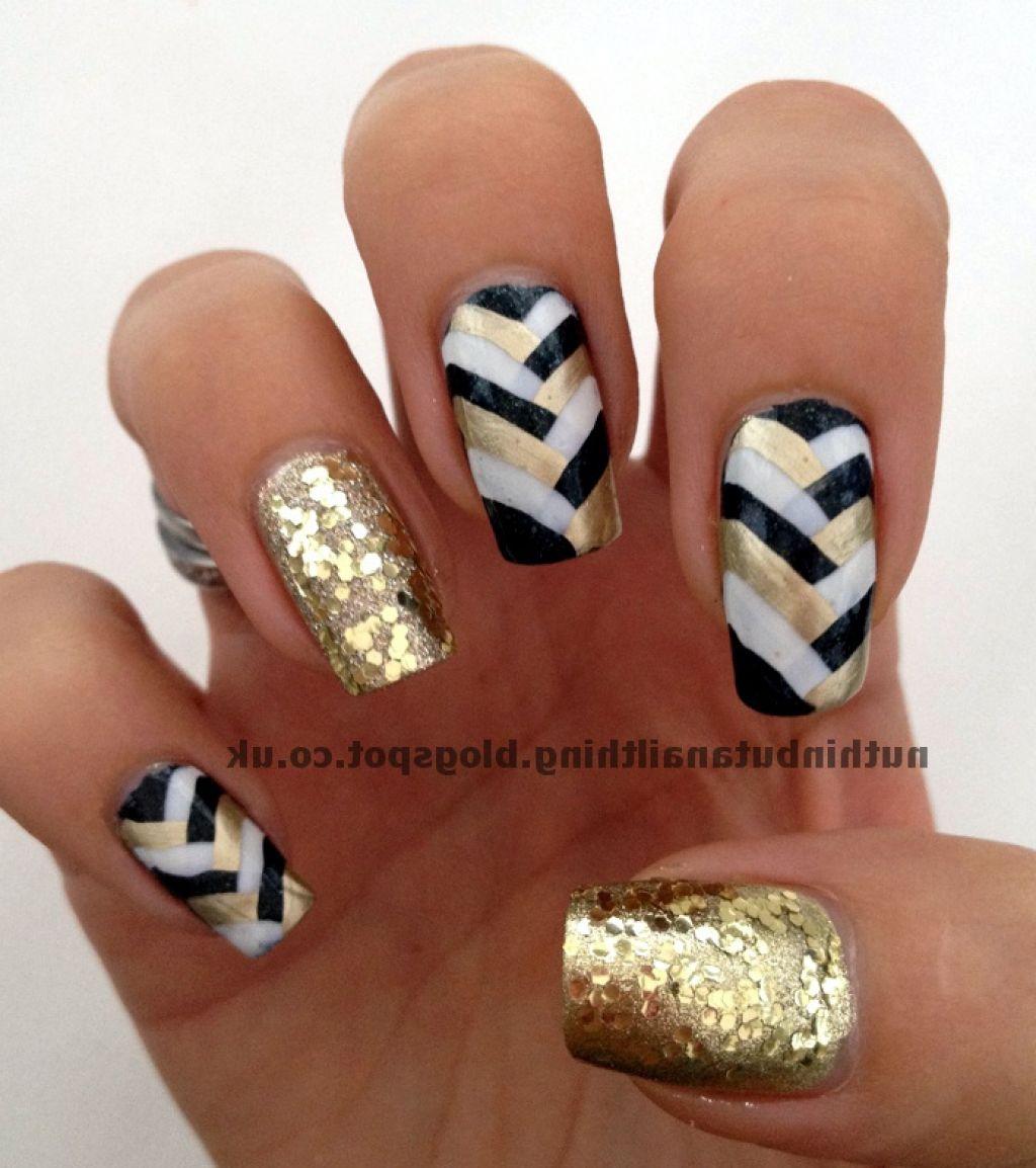 White Black And Gold Nail Art