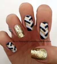 White Black And Gold Nail Art