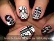 cool black nail art design