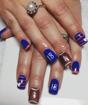 brown and blue nail art