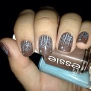 brown and blue nail art