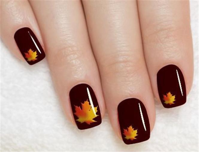 25 Best Autumn Leaf Nail Art Designs Ideas