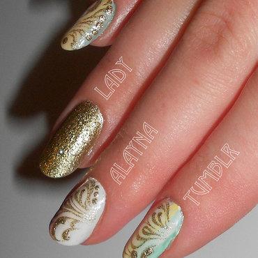 Gold Glitter Filigree Nail Art On White Nails