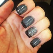 stylish acrylic gray nail art