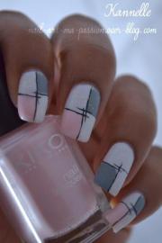 cool gray and white nail art