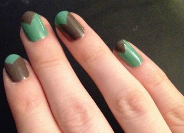 Green And Brown V Shaped Design Nail Art Idea
