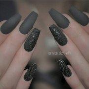 cool dark gray nail art design