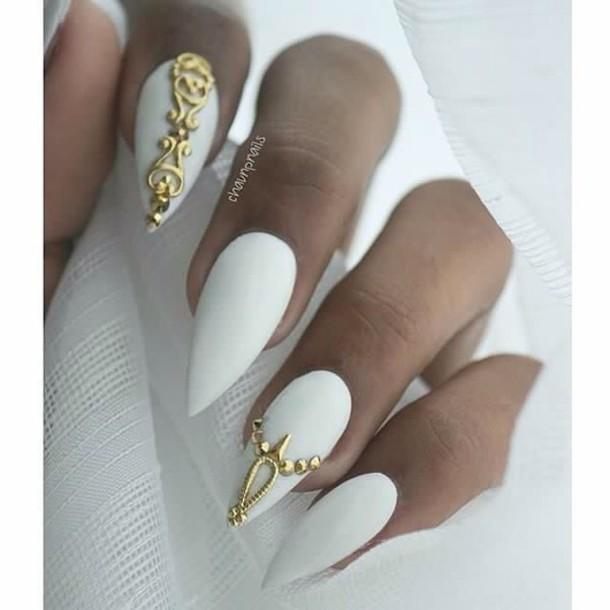 Matte Sti Nails With Gold Jewels Nail Art