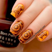 beautiful brown and orange nail