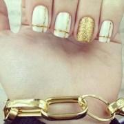 stylish white and gold nail