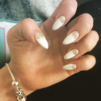 White Nails With Gold Glitter Stripes Design Nail Art