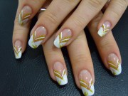 classy gold and white nail art