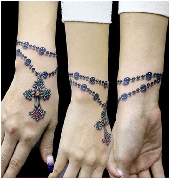 3d Cross Tattoo On Wrist