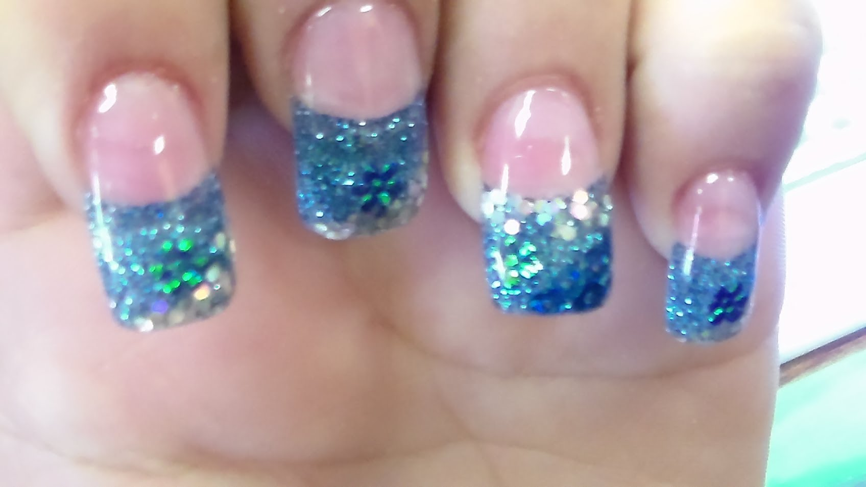 Blue Glitter Gel French Tip Nail Art With Tutorial