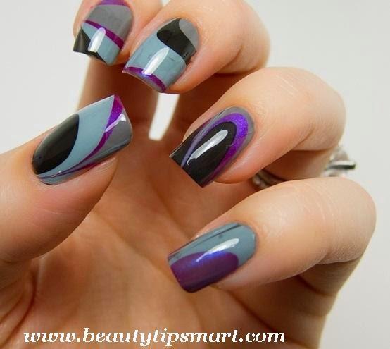 Gray Black And Purple Gel Nail Art