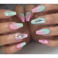 Green And Pink Glitter Gel Coffin Spring Nail Art With ...