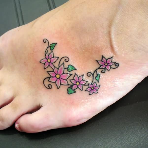 vine tattoos foot