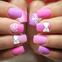 Pink And White Gel Nails With Design - NailArts Ideas