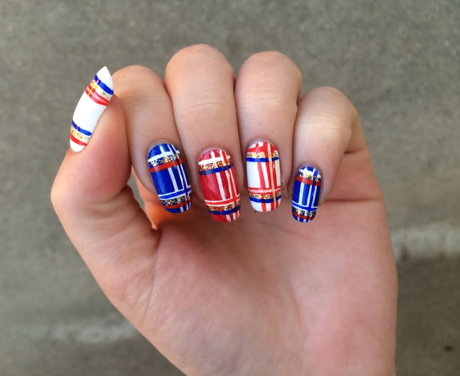 Red Blue And White Plaid Nail Art Design