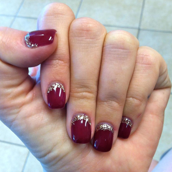 Red Gel Nails With Silver Glitter Reverse French Tip Nail Art