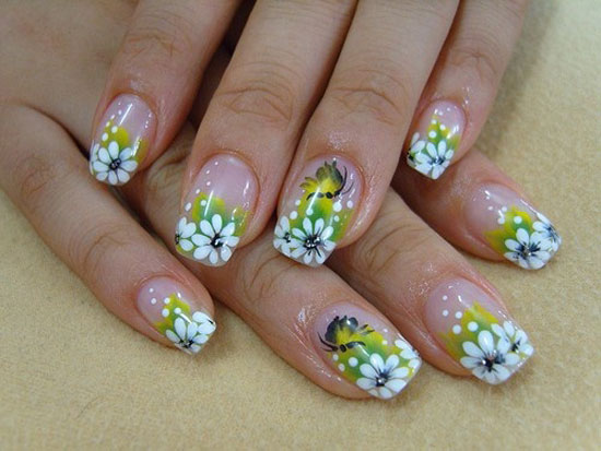 Pink Tip And 3d Spring Flowers Nail Art