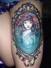 mermaid in mirror frame tattoo