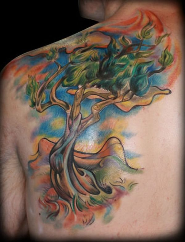 20 Colorful Tree Tattoo Ideas And Designs