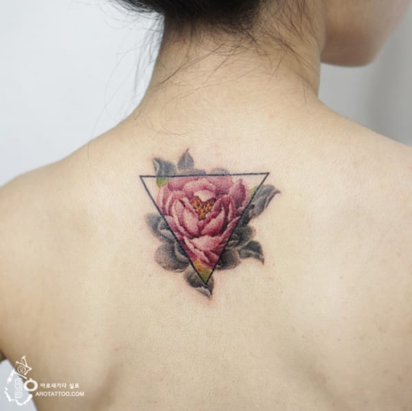 Flower Inside Triangle Tattoo