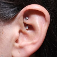 Left Ear Rook Piercing Picture For girls