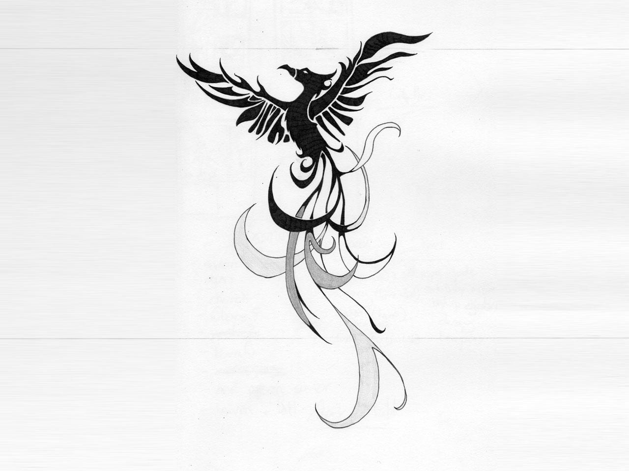 Small Phoenix Bird Tattoo Designs