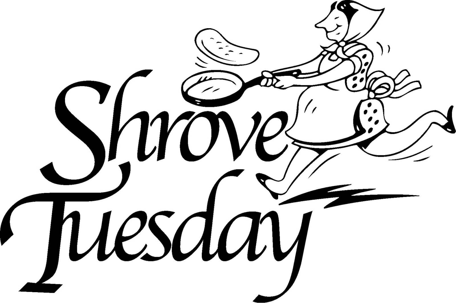 Shrove Tuesday Tossing Pancakes Black And White Clipart