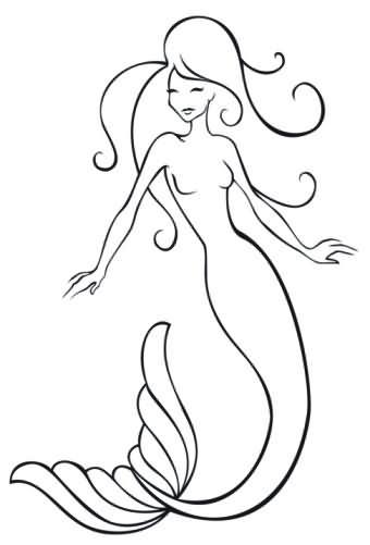 39 outline mermaid tattoos
