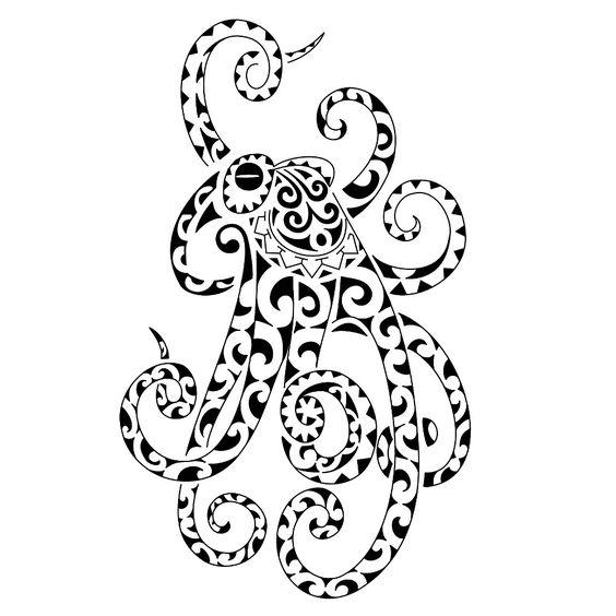 Cartoon Black Eyes Octopus Tattoo
